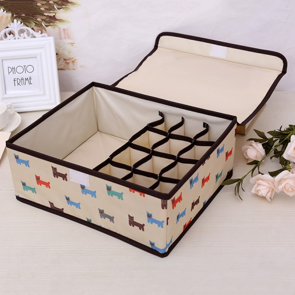 Cat Printed Multi Partition Clothes Storage Box - White
