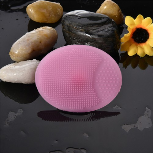 Soft Round Shaped Silicon Makeup Cleaner - Pink