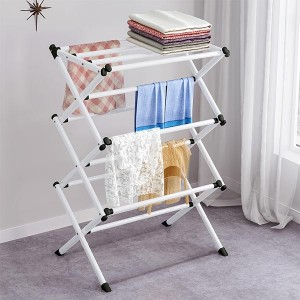 Fordable Multi Layers Cloth Handing Racks - White