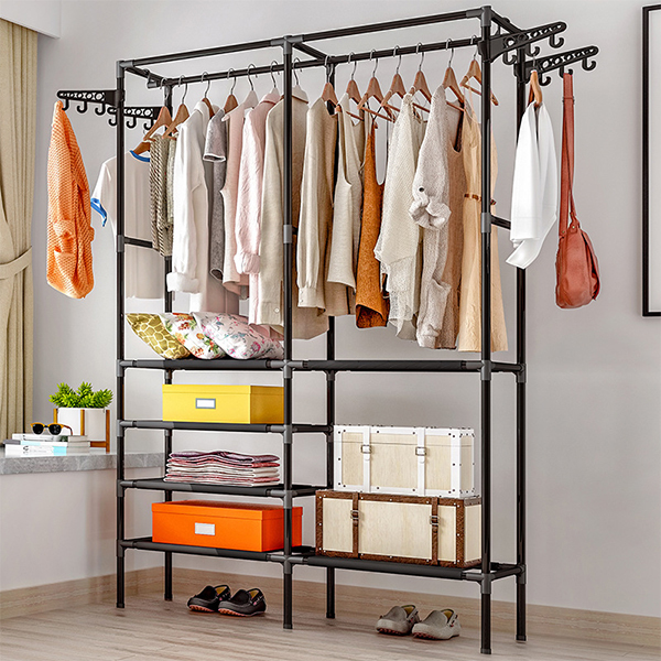 Folding Rail Easy Fixable For Clothes Storage - Black