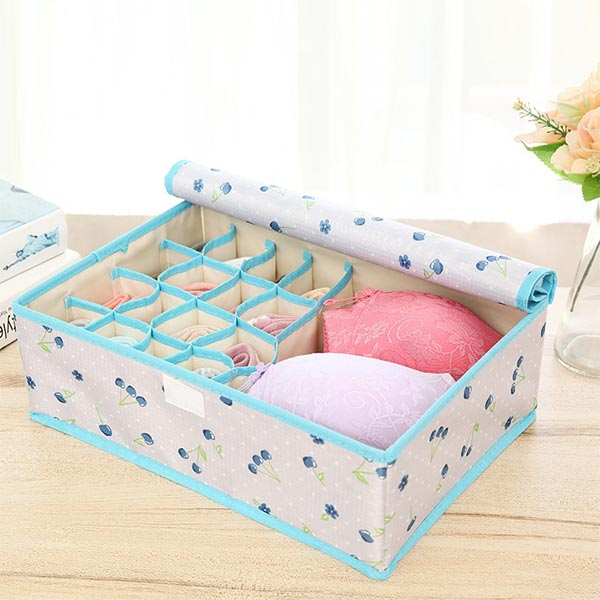 Cherry Printed Clothes Storage Box - Blue