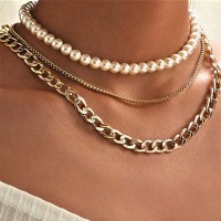 Pearl Fancy Three Layered Necklace Set