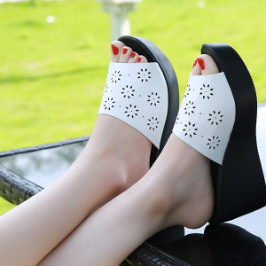 Hollow PU Leather Heavy Bottom Sandals - White