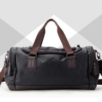 Fitness Tide Leather Large Capacity Travel Bags - Black