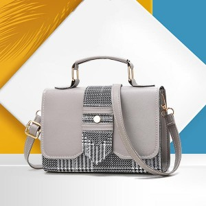 Magnetic Closure PU Leather Messenger Bags - Grey