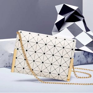 Diamond Rhombus Texture Mini Square Messenger Bags - White