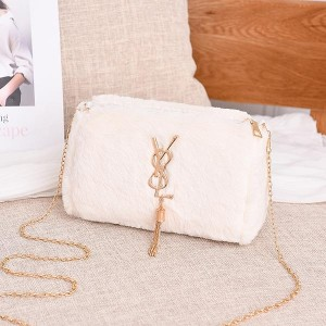 Tassel Plush Shoulder Chain One Piece Messenger Bag - White