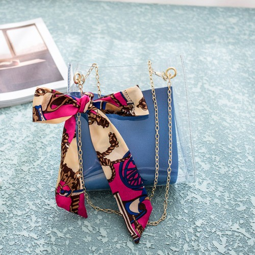 Bow Ribbon Chain Strapped Gradient Jelly Bags - Blue