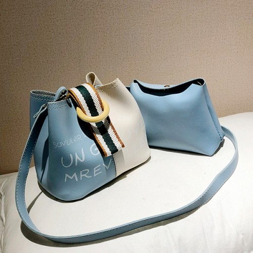Buckle Special Casual Two Piece Bucket Bags - Blue