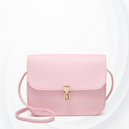 Bullet Lock Leather Texture String Messenger Bags - Pink