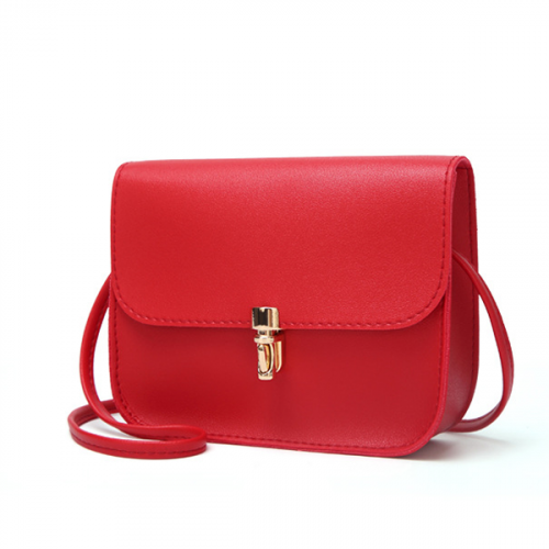 Bullet Lock Leather Texture String Messenger Bags - Red