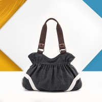Trendy Canvas Flask Shape Ladies Casual Handbags - Black