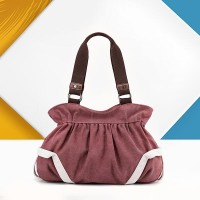Trendy Canvas Flask Shape Ladies Casual Handbags - Purple