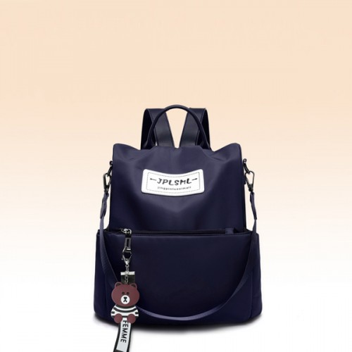 Canvas Cat Hanging Women Solid Color Backpack - Blue