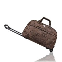 Metal Trolley Large Capacity Waterproof Travel Bag - Black Brown
