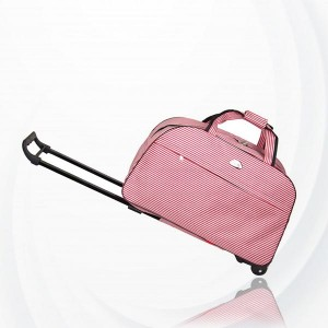 Metal Trolley Large Capacity Waterproof Travel Bag - Pink