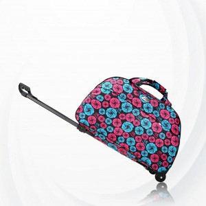 Metal Trolley Large Capacity Waterproof Travel Bag - Rose Pink