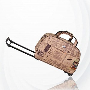Metal Trolley Large Capacity Waterproof Travel Bag - Light Blond