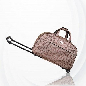 Metal Trolley Large Capacity Waterproof Travel Bag - Coffee Brown