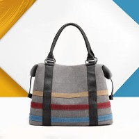 Contrast Strips Canvas Ladies Casual Tote Handbags - Gray