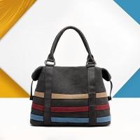 Contrast Strips Canvas Ladies Casual Tote Handbags - Black