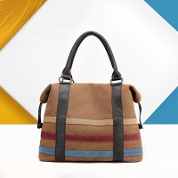 Contrast Strips Canvas Ladies Casual Tote Handbags - Brown