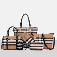 Six-piece Pu Leather Soft Surface Handbag Set - Black Strips