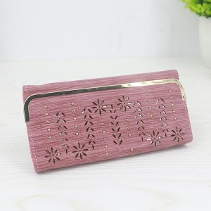 Floral Pattern Long Length Elegant Female Clutches - Pink