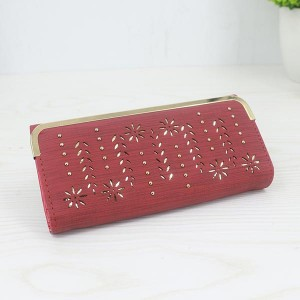 Floral Pattern Long Length Elegant Female Clutches - Red