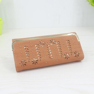 Floral Pattern Long Length Elegant Female Clutches - Orange