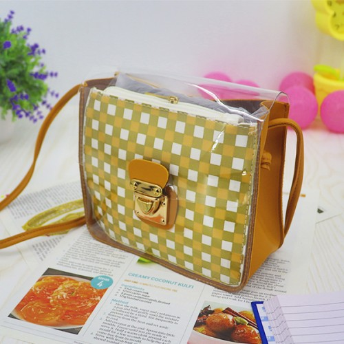 Transparent Buckled Closure Square Pattern Bags - Yellow