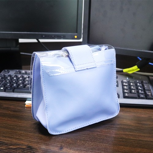 Buckle Magnetic Lock Jelly Messenger Bags - Blue