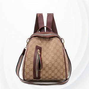 Soft Surface PU Leather Zipper Backpack - Brown