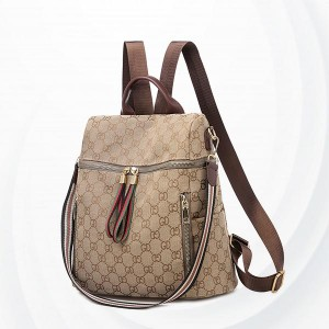 Letter Printed Casual Female Backpacks - Brown