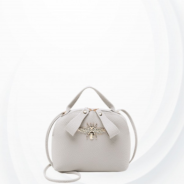 Bug Patch Synthetic Leather Zipper Shoulder Bag - Grey