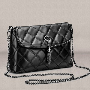 Chain Strap Patchwork Designers Messenger Bags - Black
