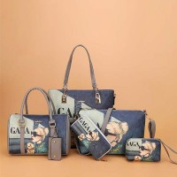 Face Printed Six-piece Pu Leather Handbags Set - Blue