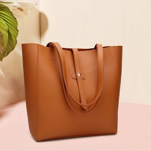Synthetic Leather Plain Textured Shoulder Bags - Brown