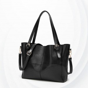 Synthetic Leather Female Handbags - Black
