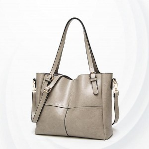 Synthetic Leather Female Handbags - Grey