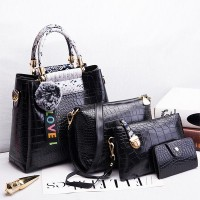Crocodile Textured Designer Four Pieces Handbag Set - Black