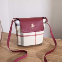 Cross-body Contrast Print Ladies Shoulder Bags - Burgundy