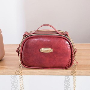 Synthetic Leather Zipper Portable Messenger bags - Red