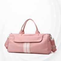Shoe Separation Portable Zipper Travel Duffel Bag - Pink