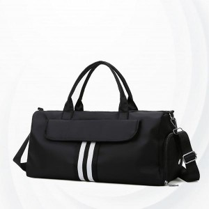 Shoe Separation Portable Zipper Travel Duffel Bag - Black