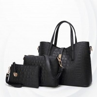 Embossed Zipper Three Pcs Ladies Handbags Set - Black