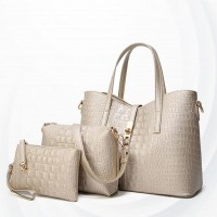 Embossed Zipper Three Pcs Ladies Handbags Set - Golden
