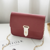 Synthetic Leather Buckle Messenger Bags - Burgundy
