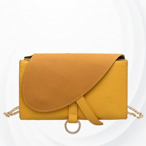 Solid Button Closure Chain Strap Messenger Bags - Yellow