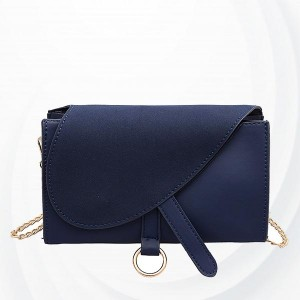 Solid Button Closure Chain Strap Messenger Bags - Blue